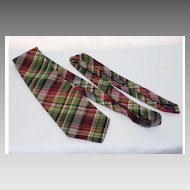 Vintage Ralph Lauren Purple Label Silk Plaid Tie Hand Made in England