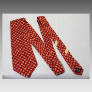 Vintage Ferragamo Red Silk Print Tie Made in Italy