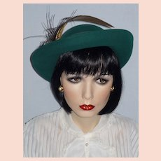 Vintage Late 1970s  Early 1980s  Mr John Classic Green Wool Felt Breton Hat