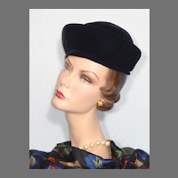 Vintage 1960s  Sally Victor Boutique Black Velvet Hat  Originally Sold at Montaldos