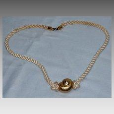 Vintage 1970s Yves Saint Laurent Gold Tone Shell Pendant On Cord