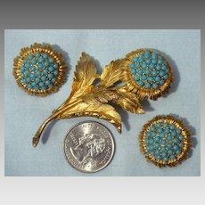 Vintage Late 1960s-Early 1970s Hattie Carnegie Floral Brooch and Earrings