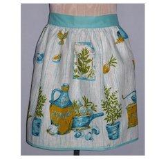 Vintage 1960s Kitchen Print Linen Apron