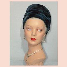 Vintage 1960s  Pierre Balmain Reproduction of Chapeaux  Shades of Blue Velvet Hat