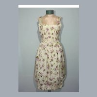 Vintage 1950s Floral Cocktail Dress With Bubble Skirt