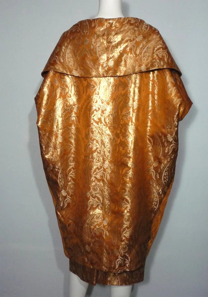 1950s Mr Blackwell Copper And Gold Brocade Dress And Coat
