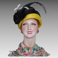 Vintage 1980s Mr Charles Lemon Yellow Cloche Style Straw Hat With Black Feathers