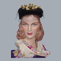 Vintage 1950s Black Velvet Open Crown Hat With Velvet Berries and Leaves