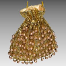 Vintage 1960s Golden Metallic Threads Drawstring Evening Bag With  Apricot Faux  Pearls