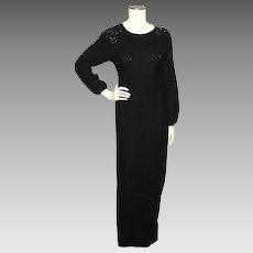 Vintage 1960s Garfinckels Black Wool Knit Beaded Maxi Dress