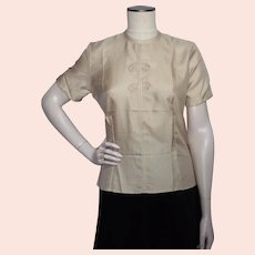 Vintage 1950s Sidney Heller Created Silk Blouse Oriental Style Deadstock