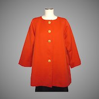 Vintage 1980s Yves Saint Laurent Rive Gauche Tomato Red Swing Coat