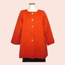 Vintage 1980s Yves Saint Laurent Rive Gauche Tomato Red Swing Coat