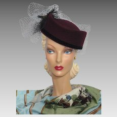 Vintage 1980s Burgundy Wool Felt Sculpted Hat With Feather Detail