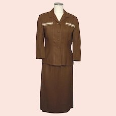 Vintage 1950s Brant Leigh Dallas 2pc Brown Linen Suit