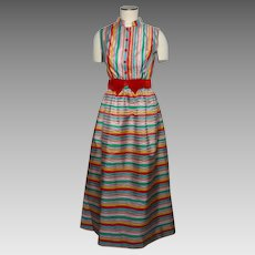 Vintage 1960s Striped Taffeta Evening Dress Multicolored
