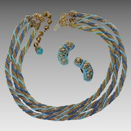 Vintage 1960s Hobe Mesh Necklace and Earrings Faux Turquoise and Lapis Beads