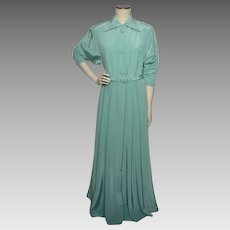 Vintage 1950s Kamore Aqua Robe Dressing Gown