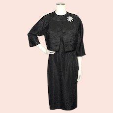 Vintage 1950s Black Taffeta Dress and Matching Bolero Jacket