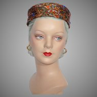 Vintage 1960s Luci Puci Paisley Pillbox Cocktail Hat John Wanamaker