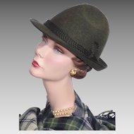 Vintage 1980s Bavarian Alpine Loden Green Wool Hat