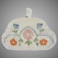 Vintage 1930s Beaded Tambour Embroidery Evening Bag Made in Belgium