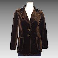 Vintage 1960s-70s Butte Knit Velvet Blazer Espresso Brown