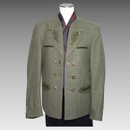 Vintage 1980s Tyrolean Bavarian Green Wool Hunting Jacket Trachten Julius Lang