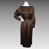 Vintage 1980s Hanae Mori Boutique Brown Silk Dress