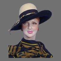 Vintage 1970s Sylvia Navy Blue and Ivory Wool Felt Hat