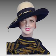 Vintage 1970s Sylvia Navy Blue and Ivory Wool Felt Hat