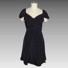Vintage 1990s Scaasi Boutique Black Silk Cocktail Dress Originally Sold at Saks Fifth Avenue