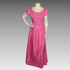 Vintage 1960s Mike Benet Formals Pink Taffeta  Evening Gown Sequined