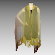 Vintage 1930s Silk Chiffon Shawl Made in Italy With Long Fringe