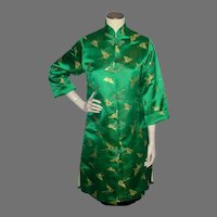 Vintage 1960s Green Silk Brocade Butterflies Evening Coat Made in Japan
