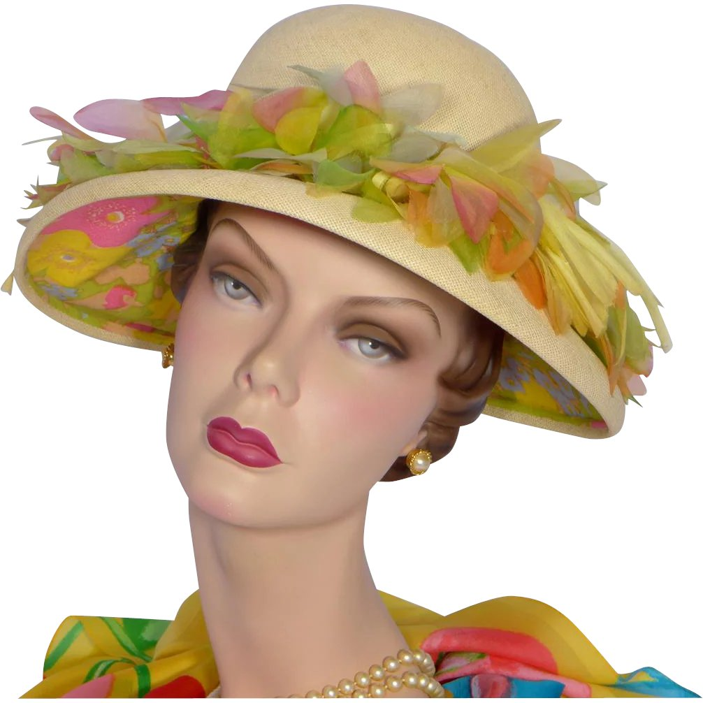 b052dd47044dc8 Vintage 1960s Christian Dior Straw Hat With Silk Flowers : My Vintage  Clothes Line   Ruby Lane