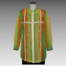 Vintage 1980s Kokomo Tie Dye Print Blouse Bright Colors