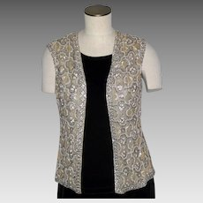 Vintage 1960s Victoria Royal Beaded Vest Made in British Crown Colony Hong Kong