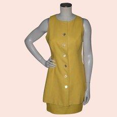 Vintage 1990s Scaasi 2pc Yellow Linen Suit