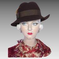Vintage 1970s Betmar Brown Wool Felt Fedora
