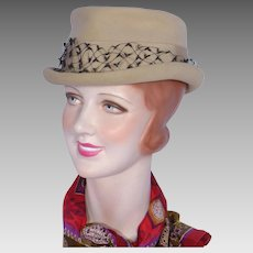 Vintage 1960s Wool Felt Riding Style Hat