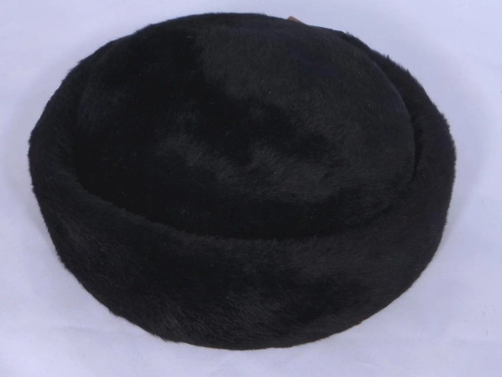 9552b2f8d31b Vintage 1960s Coralie Black Fur Felt Pillbox Hat With Rhinestone Dangle