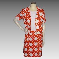 Vintage 1960s Ginala 2pc Dress and Jacket Orange and White Print