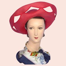 Vintage 1970s Jack McConnell Tomato Red Straw Halo Hat