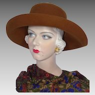 Vintage 1980s Russet Brown Wool Felt Hat Faux Leopard Trim Seasons By S & S Hat Co