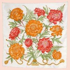 Vintage Ferragamo Floral Silk Scarf Made in Italy