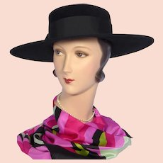 Vintage 1970s Jack McConnell  Black Wool Felt Hat Wide Brim Red Feather One of a Kind