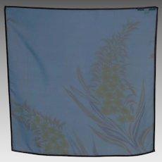 Vintage Bernie of New York Teal Blue Silk Scarf Floral Print