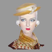 Vintage 1950s Norman Durand Original Straw Sculpted Hat