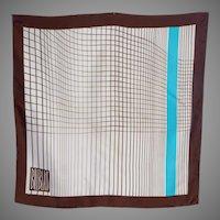 Vintage 1970s Bill Blass Silk Scarf Linear Print